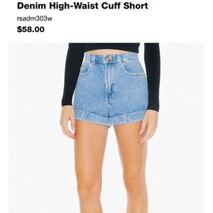 American apparel denim high waisted cuff shorts